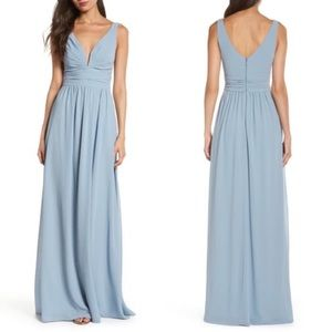 Lulus V-Neck Chiffon Light Blue Gown